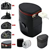 First2savvv black Luxury Universal Worldwide Travel Power Adaptor and USB Charger - African / European / American / Australian / Holiday Plug Adapter - Covers Over 150 Countries for Dell XPS 10 Windows 8 Tablet with Keyboard Dock Dell XPS 10 Inch Windows