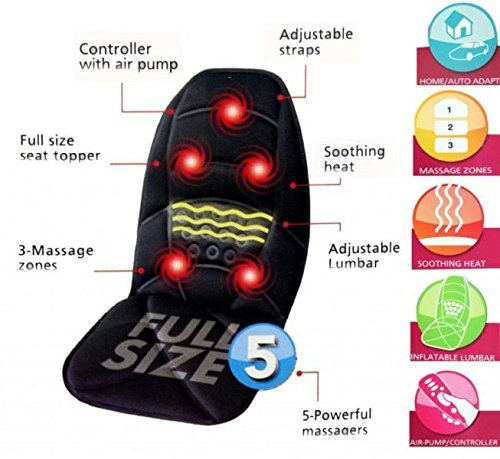 Seat Topper Back and Neck Massager with Soothing Heat Function for Both Home and Car Use
