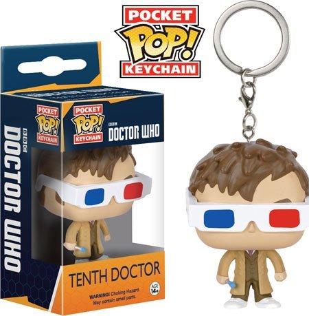 Funko - Porte Clé Doctor Who - 10th Doctor Lunettes 3D Exclu Pocket Pop 4cm - 0849803076016