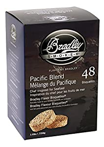 Bradley Smokers Pacific Blend Bisquettes (2.75 x 6.875 x 9.25-Inch, Pack of 48) by Bradley Smoker USA Inc.
