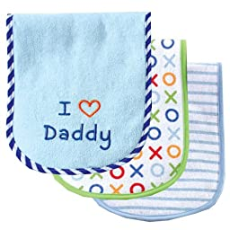 Luvable Friends I Love Mommy and Daddy Baby Burp Cloths, Blue Daddy, 3-Count
