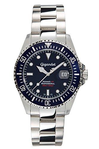 Gigandet Automatik Herren-Armbanduhr Sea Ground Taucheruhr Uhr Datum Analog Edelstahlarmband Blau Silber G2-009