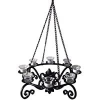 Allen + Roth 19-in x 19-in Black Metal Votive Candle Outdoor Decorative Lantern