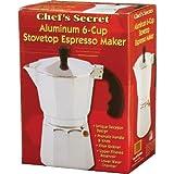 White Chef's Secret® Aluminum Metal 6-cup Stovetop Espresso Coffee Maker Fast Shipping