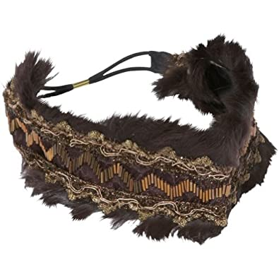 Magid Faux Fur and Bead Wide Headband (Brown)
