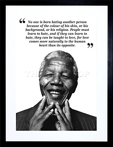 9x7 INCH NO ONE IS BORN HATING NELSON MANDELA BW TYPOGRAPHY QUOTE FRAMED WALL ART PRINT PICTURE PAINTING WOODEN PHOTO FRAME BLACK WHITE OAK BROWN F97X631 (Quote Paintings compare prices)
