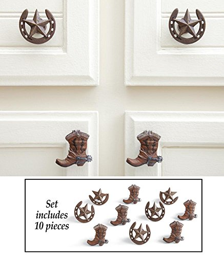10-Pc Western Horseshoes And Cowboy Boots Drawer Pulls