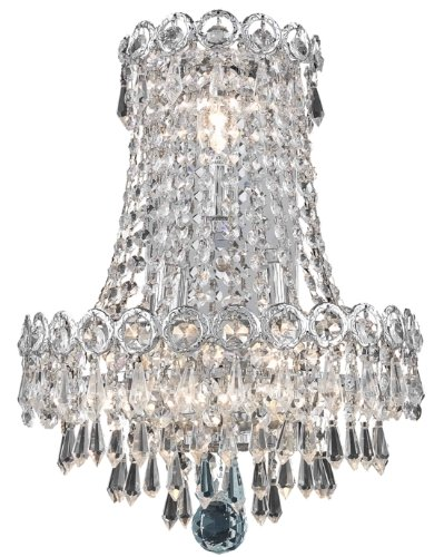 Elegant Lighting 1902W12Sc/Rc Century 17-Inch High 3-Light Wall Sconce, Chrome Finish With Crystal (Clear) Royal Cut Rc Crystal front-689227