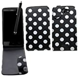 Samrick Polka Dots Specially Designed Leather Flip Case, Screen Protector, Microfibre Cloth, Black High Capacitive Stylus Pen for HTC One X/One X+/One XL - Black/White