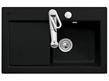 Villeroy & Boch Subway Rectangular Kitchen Sink Ceramic Sink Ebony Black 45