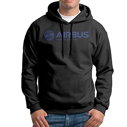MEGGE Airbus Logo Men's Casual Hoodie Black S (Airbus A340 Model compare prices)