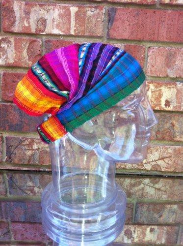 Inspirit Arts Medium Jeweltone Headband Expandable Handwoven Open Net Weave Lightweight Bandana Headwrap Elastic 100% Cotton Hair Scarf front-509477