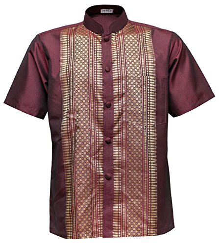 Men's Shirt Short Sleeve Thai Silk Mandarin Band Collar Brown (L)