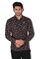 Kivon Men's Black Printed Slim Fit Casual Shirt