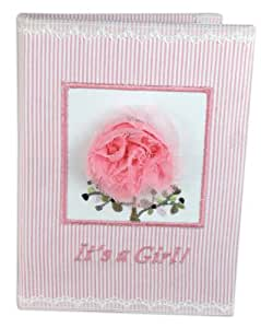 Stephan Baby Really Rosy Keepsake Mini Stripe Photo Album Brag Book, It's a Girl, Pink/White