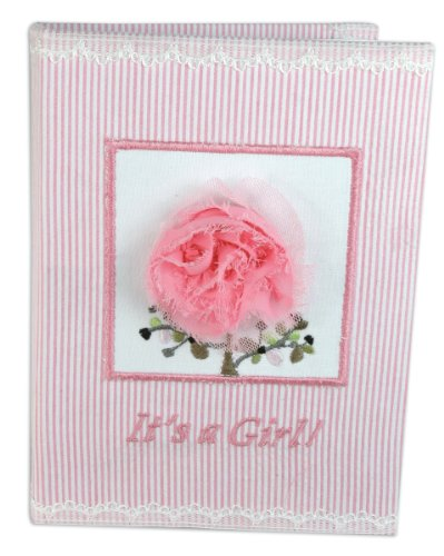 Stephan Baby Really Rosy Keepsake Mini Stripe Photo Album Brag Book, It's a Girl, Pink/White