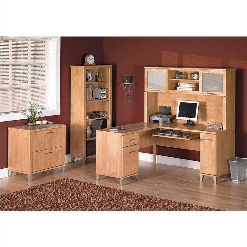 Bush Somerset 4-Piece L-Shape Computer Desk Set in Maple Cross