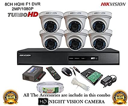 Hikvision-DS-7208HQHI-E1-8CH-Dvr,-6(DS-2CE56DOT-IRP)-Dome-Cameras-(With-Mouse,-Remote,-2TB-HDD,Cable-,-Bnc&Dc-Connectors,Power-Supply-)