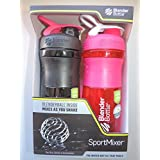 Mazaa Special! BlenderBottle SportMixer 28-ounce - Pack Of 2! Black/Pink And Pink/White