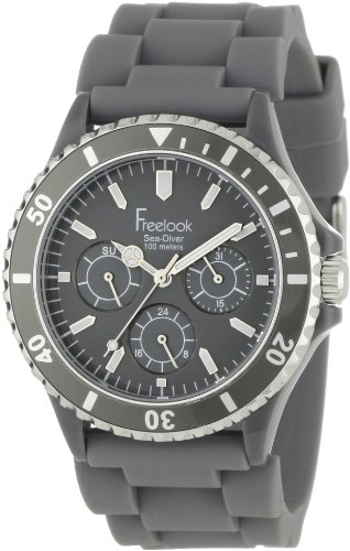 Freelook Men's HA1434-4 Sea Diver Multi-Function Grey Band with Grey Dial Watch