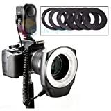 Macro Ring LED Flash Light For Canon 5D Mark II III 1DX 7D 6D 60D 700D 650D 600D 550D 1100D Nikon D4 D3X D800 D800E D700 D300S D600 D7100 D7000 D5200 D3200 Pentax K-5 K-7 K-R K-X Olympus DSLR Cameras With 6 FREE RINGS(49/55/58/62/67mm)