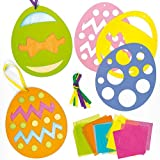 Easter Egg Stained Glass Effect Hanging Decoration Kits for Children to Make and Display (Pack of 6)