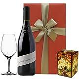 ワイン、グラス、チョコレートクッキーのギフト 南フランス、コート・デュ・ローヌの赤ワイン 750ml、テイスティンググラス、と チョコレートワッフル