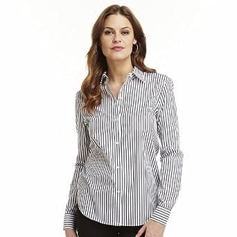 Chaps women 39 s no iron button front long sleeve shirt for No iron white shirt womens