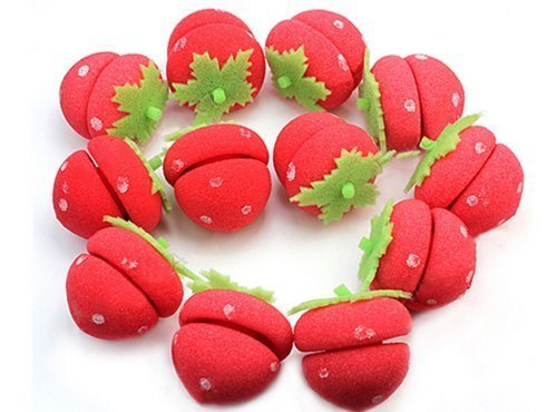 12pcs Soft Sponge Cute Strawberry Style Hair Curler Balls