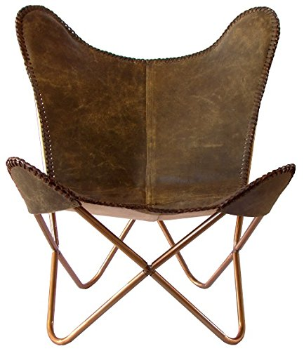 SKYCARTE Deluxe NuBuck Echt-Leder Butterfly Sessel / Schmetterling Stuhl (Farbton: Terra-Braun) jetzt kaufen