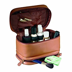 Royce Leather Ladies Cosmetic Travel Case (Tan)