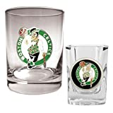 NBA Boston Celtics Rocks Glass & Square Shot Glass Set - Primary Logo