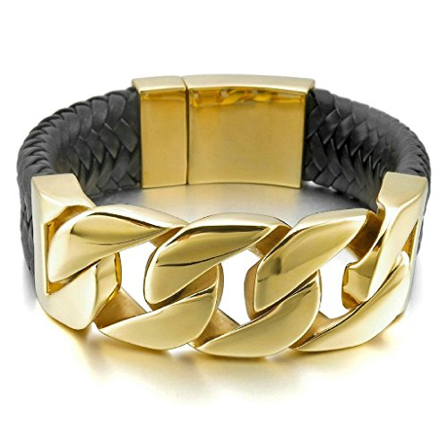 adisaer-acier-inoxydable-gourmette-hommes-bracelet-charms-or-noir-tresse-gothique-biker