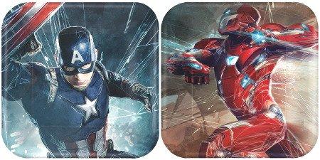 Captain America 3 Civil War Party 7 inch Square Dessert Plates (8 count)