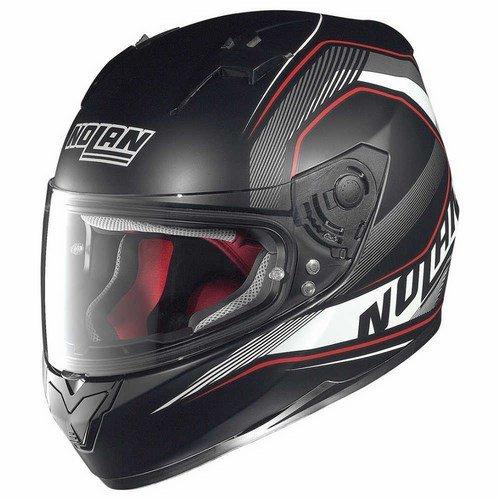 Nolan-N64-Swerve-N-Com-Casco-integral-de-moto-color-rojo-y-negro-mate