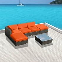 Hot Sale Gazebo 6 pc Wicker Modern Patio Furniture ORANGE