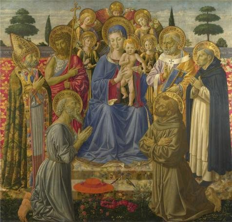 [The Perfect Effect Canvas Of Oil Painting 'Benozzo Gozzoli - The Virgin And Child Enthroned Among Angels And Saints,1461-2' ,size: 18x19 Inch / 46x48 Cm ,this Cheap But High Quality Art Decorative Art Decorative Prints On Canvas Is Fit For Bathroom Decoration And Home Artwork And] (Fantasy Life Angel Costume)