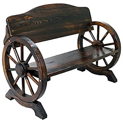 Solid Wood Cart Wagon Wheel Garden Bench Patio Burnt Stained Outdoor Furniture