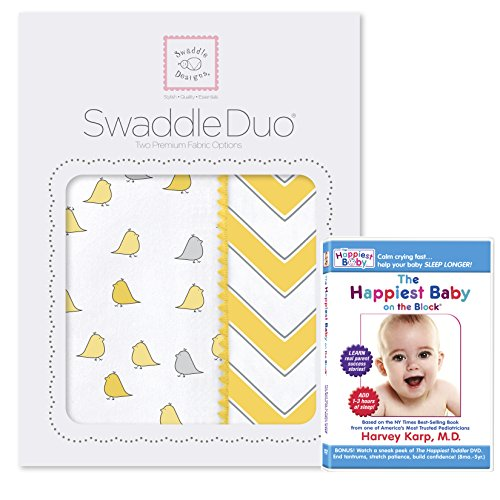 SwaddleDesigns SwaddleDuo 2pack with The Happiest Baby DVD Bundle, Chic Chevron Duo, Yellow