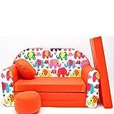 Mini café sofá infantil con diseño de café con diseño de bebé sofá juego de cojines para colchón suave de terciopelo diferentes coloures F9 orange Elefanten Talla:59/98/48cm