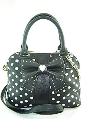 Betsey Johnson Small Dome Crossbody Handbag Hopless Romantic Black Multi