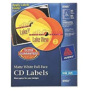 Avery inkjet matte white full face cd labels for Fellowes neato templates