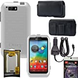 Otterbox Commuter Case WHITE for Motorola Photon Q 4g LTE xt897 Falcon, Leather Horizontal Case that fits your phone with the Otterbox on it, Heavy Duty Car Charger & Anti Radiation Shield