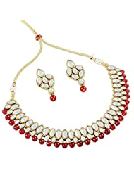 Latest Kundan Designer Collection Necklace Set In Red Color For Women By Shining Diva