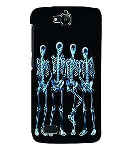 Fuson 3D Printed Skeleton Designer Back Case Cover for Huawei Honor Holly - D659
