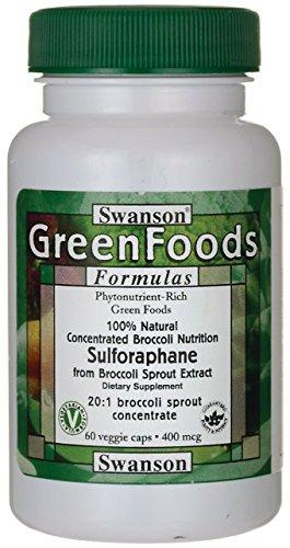 Swanson - Sulforafano (Estratto di Broccoli) 400mcg, 60 Capsule Vegetali - BroccoPhane® 20:1 Concentrado di Germogli 100% Naturali (Sulforaphane Vegetarian Capsules - Broccoli Sprouts Extract)