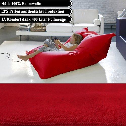 BigDean Luxus Riesensitzsack Baumwolle 1,4 x 1,8 m Indoor XL Sitzsack Torerro Rot gefüllt mit 400 Liter 1A EPS Perlen
