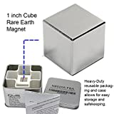 "CMS Magnetics Super Strong 1"" Neodymium Cube Magnet – Storage Box Included for Added Safety (Color: Silver chrome, Tamaño: 1"