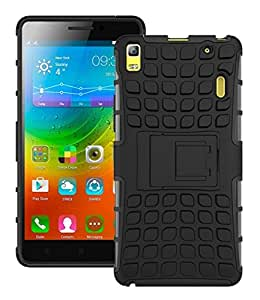 Aart Lenovo A7000 Hard Dual Hybrid Bumper rubber back case with Flip Kick Stand Cover by Aart Store.