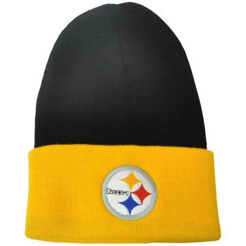 Buy NFL Pittsburgh Steelers Two Tone Cuffed Winter Knit Beanie Toque Acrylic Hat